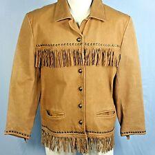 Vintage Mens M Leather Jacket Fringe Studded Tan Soft Santa Fe Western Hippy