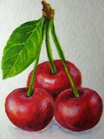 Watercolor Painting Cherry Red Juicy Berries Green Leaf Harvest Farm ACEO Art '