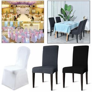 1-200X Stuhlhussen Stretchhusse Stretch Stuhlüberzug Elastisch Universal Weiß