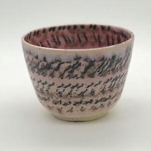 Japan Traditional Tea Ceremony Bowl Unusual Pink/Grey Pattern Textured Glaze
