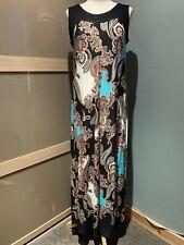 Wallis Black / Aqua Pattered Maxi Sleeveless Dress Size 14