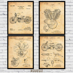 Harley Davidson Motorcycle Patents Four Pack Art Prints - Size and Frame Options