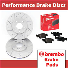 BMW E30 83-91 318 320 323 325 Front Dimpled & Grooved Brake Discs Brembo Pads