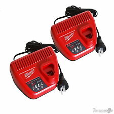 TWO (2) MILWAUKEE C12C 12V COMPACT M12 BATTERY CHARGER GENUINE AUSTRALIAN STOCK