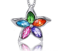 Fashion Womens Star MIX Crystal Rhinestone Silver Chain Pendant Necklace