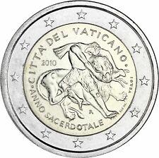 Vatikan 2 Euro 2010 Gedenkmünze Jahr der Priester Stempelglanz im Folder