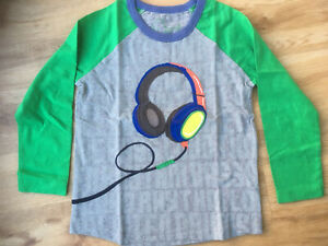 Mini Boden boys applique long sleeve top with headphones, grey green age 5-6