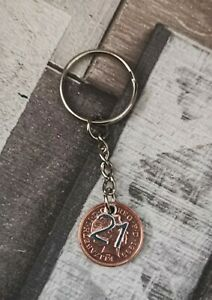 21st YEAR WEDDING ANNIVERSARY DATED PENNY COIN GIFT KEYRING 21st BIRTHDAY
