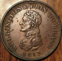IRELAND WELLINGTON ONE PENNY TOKEN 1813 WITHERS 1850 SCARCE COIN AND THIS NICE!!