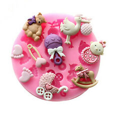 Baby Bear Carrousel Silicone Fondant Cake Chocolate Soap Mold Bakeware Tools