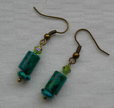 Unique lovely handmade green chrysocolla antique gold plated earrings +stoppers