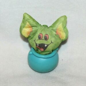 Smooshies Smooshee Green Bat Plush Toy Vintage 1989 Hallmark Halloween w/Pot 3""