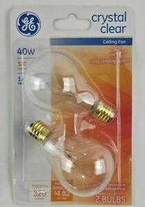 2- NEW GE 40 Watt Crystal Clear A15 Ceiling Fan Light Bulbs w/ Intermediate Base