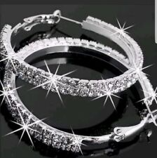 Large Bling Hoop Earrings Diamante Bridal Round Rhinestone Silver 2 Rows Crystal