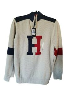NWT Tommy Hilfiger Boys Colorblocked 1/4 Zip Logo Pullover Sweater Size 20 XL