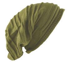 "D&Y Men's Long Beanie Stripe Textured Knit Hat 12"" Green"
