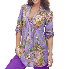 Women's Vintage Floral Print V-neck Tunic Tops Swing Oversize Plus Size Blouse