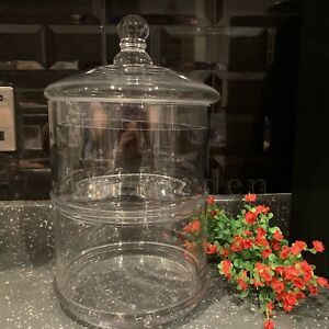 Set Of 2 Stackable Decorative Glass Jar Storage Cakes Sweets Cookies Jars 29x18