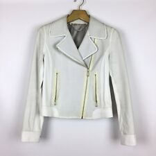 ELIE TAHARI Perforated Leather White Moto Jacket Sz S Small Blazer Zip Up USED