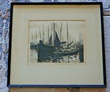 """Signed Alfred R Blundell Original Etching """"Lowestoft Trawlers"""" framed 17"""" x 19"""""""