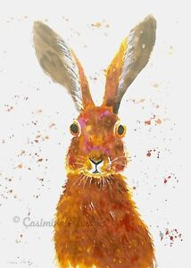 """Greeting card, Hare with big ears!   7"""" by 5""""  By Casimira Mostyn"""