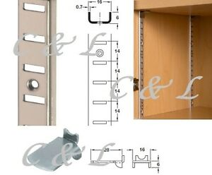 Shelving Strips 16 x 6 mm Shelf Supports Clips Recess Surface Various Lengths