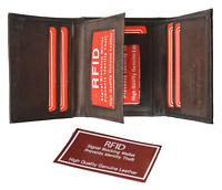 Burgundy RFID Blocking Men's Genuine Leather Trifold Wallet Front Pocket