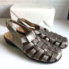 Array Woman's Santa Cruz Sling Back Slip On Leather Sandals Pewter Size 11 M