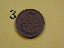 1938 Canada Canadian Small 1c (One) Cent Coin,  Penny