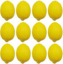 """12pc Artificial Lemons Big Size Vivid Faux Lemon Plastic Fake Yellow 3.7"""" x 2.5"""""""