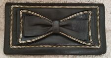 Lena Erziak Black Leather Purse with Chain Bow Trim Made in Italy
