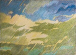 BRUNO FANESI opera unica anni 70 tra le Nuvole pastello 50x35 firmato rif 016