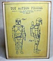 STAR WARS BOBA FETT Action Figure Patent Handmade wood vintage sign