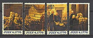 Scott #1691-94 Used Se-tenant Set of 4, Declaration of Independence