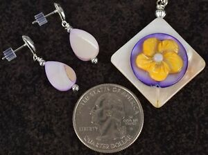 """18"""" Layered Purple Opal Mother of Pearl Flower Pendant Necklace & Earrings Set"""