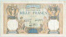 BILLET 1000 FRANCS CERES ET MERCURE 13 OCTOBRE 1938 CO 438 L 4082