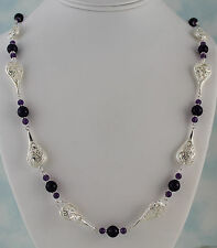 """Amethyst 8mm & 4mm Rounds & Filigree Links Necklace 26"""" w/Toggle Silver Plated"""