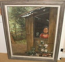"ROBERTO CARLOS ""PHILIPPINO GIRL"" ORIGINAL OIL ON CANVAS PAINTING"