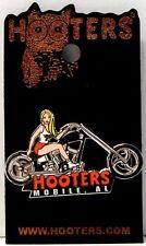 MOBILE, AL  HOOTERS BLONDE GIRL ON A BLACK MOTORCYCLE BIKE PIN ALABAMA