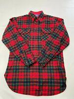 Mens PENDLETON Red Plaid Vintage Wool Maclean Tartan Button Up Shirt Sz M