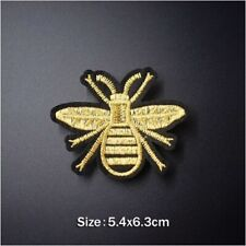 Woven IRON-ON PATCH Sew Embroidery Applique Fashion Badge GOLD WASP/BEE/HORNET