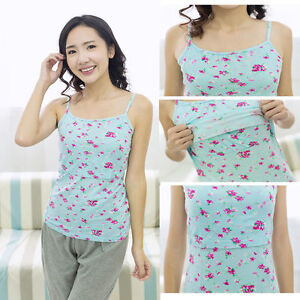 Breastfeeding Nursing Top Suspenders Strappy Slip Tank Floral Modal Cotton Cute