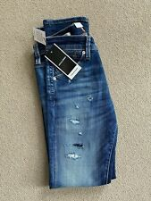 JACK & JONES - Men's Blue Distressed Straight Denim Jeans - W29 Regular