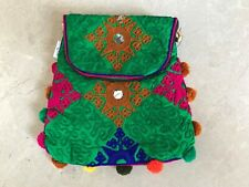 Handmade Girl Cross Body bag Handbag Fancy Embroidery Green Shoulder bag