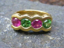 Vintage 18K Yellow Gold Tsavorite Green Garnet & Pink Tourmaline Ring - Size 6