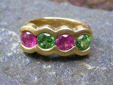 Vintage 18K Yellow Gold Tsavorite Green Garnet & Pink Tourmaline Ring - Size 6