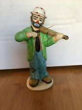 Vintage Flambro Collection Emmett Kelly Jr. Hobo Clown With Violin Fiddle 1984