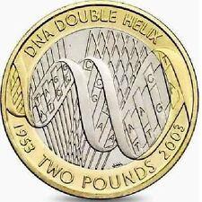 2003 £ 2 DNA doppia elica cinquantesimo due sterlina MEDAGLIA caccia 08/32 RARA 2 ZZ