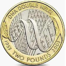 2003 £ 2 DNA DOPPIA ELICA 50th due Pound Coin Hunt 08/32 RARA 2 XX