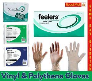 Disposable Gloves 100/200 Vinyl/Polythene Clear Powder/Latex Free Food M,L,XL UK